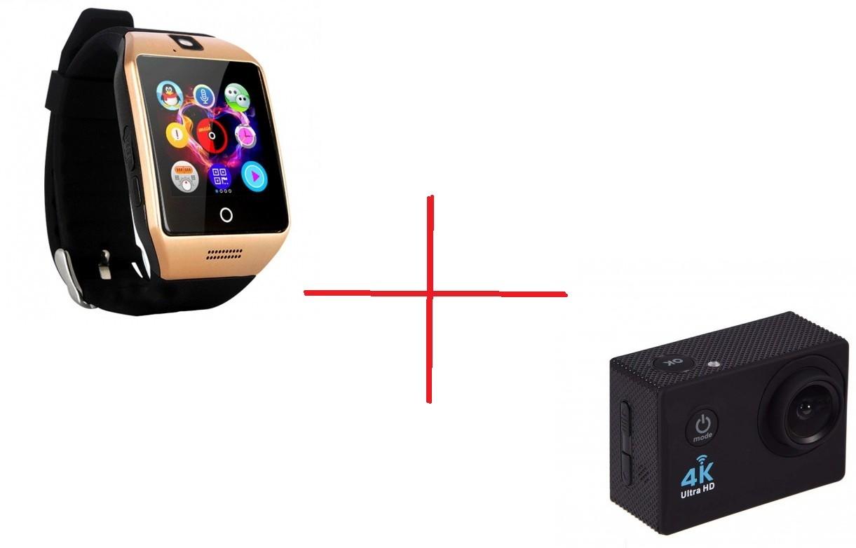 Set Promo Camera Sport Sj9000 + Smartwatch Q18 Auriu