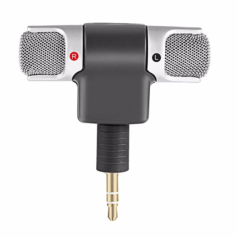 Microfon Super Mini Techstar®, Stereo, Pentru Telefon, Laptop, Tableta, Interviu, Portabil, 90° Mobil
