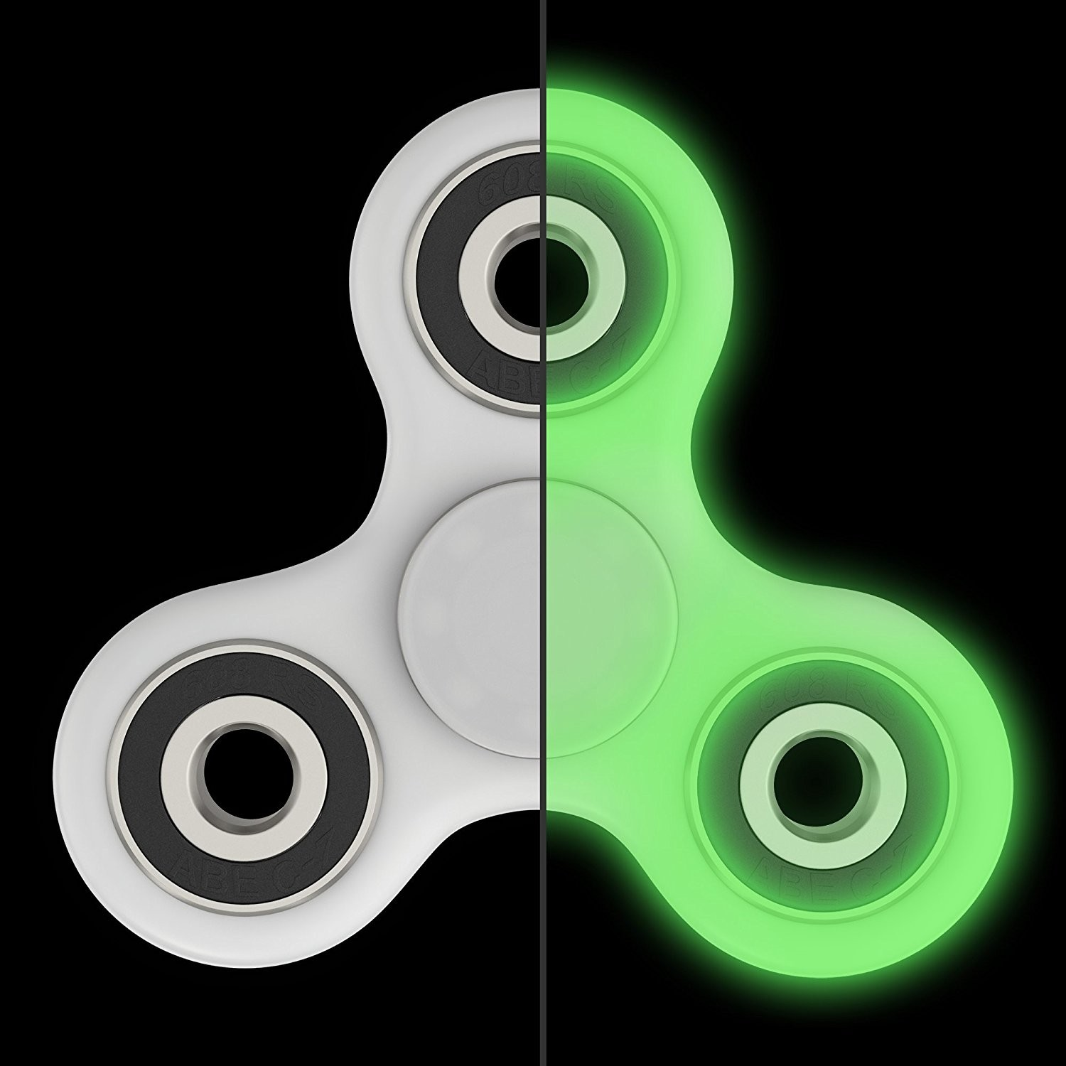 Jucaria Fidget Spinner Antistres culoare Alb Fosforescent Tri-Spinner thumbnail